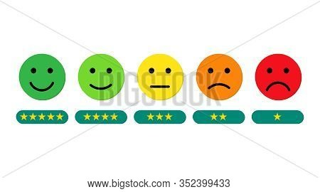 Face Emoticon On Scale Feedback. Customer Rating Measurement Scale From Angry Face To Happy Face. Ga