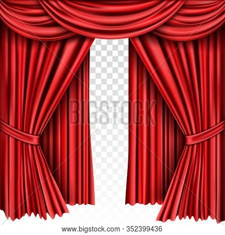 Red Stage Curtain For Theater, Opera Scene Drape Backdrop, Concert Grand Opening Or Cinema Premiere