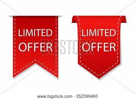 Red Price Ribbon With Limited Offer. Special Deal Label For Retail Banner. Discount Label For Sale.