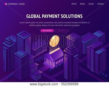 Global Payment Solutions Isometric Landing Page. Cryptocurrency Business, Huge Etherium Hang Above B