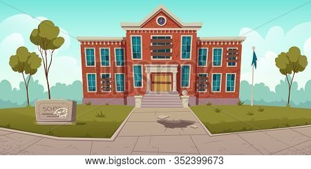 Abandoned Old School With Broken Windows And Boarded Up Door. Vector Cartoon Illustration Of Summer