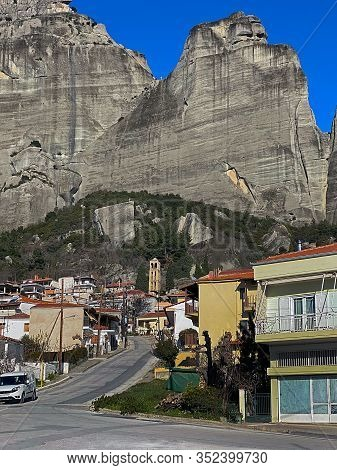 Kalambaka City At The Foot Of Meteora Rocks In Greece