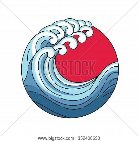 Japan Wave In Red Sun Logo. Japanese Oriental Style Vector Art Illustration. Vector Japan Wave In Re