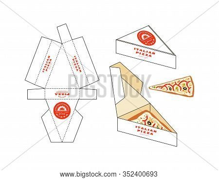 Design Of Box For Pizza Slice. Unwrapped Box With Layout Elements And 3d Presentation
