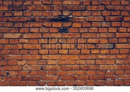 Brick Wall Texture, Red Bricks Background. Architecture Design. Grunge Stonewall, Old Masonry, Brick