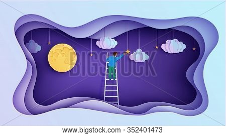 Man On A Ladder To Pick The Star Above Cloud And Moon In Paper Cut Style. Papercut Businessman Climb