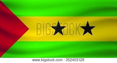 Waving Flag Of Sao Tome And Principe. Vector Illustration