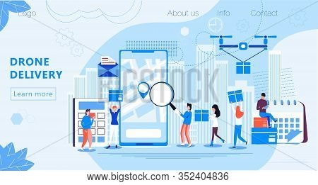 Drone Delivery Service Concept Vector. Multicopter Is Carrying Box. Camera Drone Is Flying, Professi