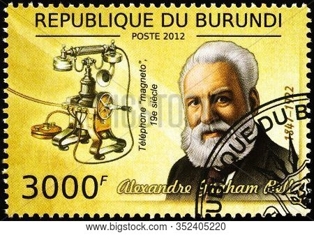 Moscow, Russia - February 22, 2020: Stamp Printed In Burundi, Shows Alexander Graham Bell (1847-1922