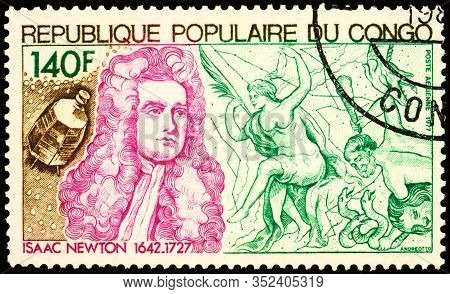 Moscow, Russia - February 22, 2020: Stamp Printed In Congo, Shows Sir Isaac Newton Prs (1642-1727),