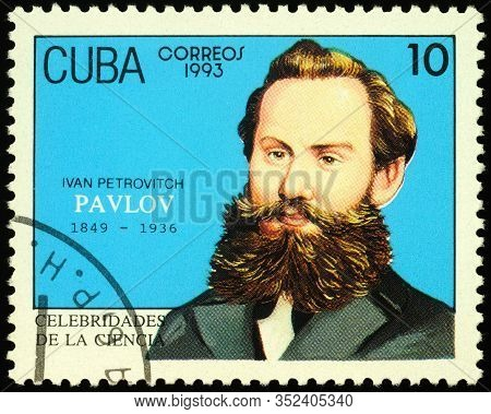 Moscow, Russia - February 24, 2020: Stamp Printed In Cuba, Shows Ivan Petrovich Pavlov (1849-1936),
