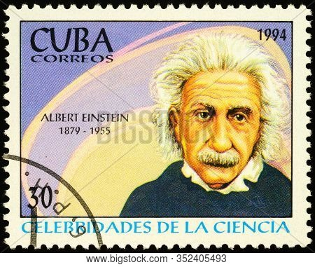 Moscow, Russia - February 23, 2020: Stamp Printed In Cuba, Shows Albert Einstein (1879-1955), German
