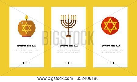 Judaism Symbols Flat Icon Set. Star, Candle, Menorah Isolated Vector Sign Pack. Culture And Religion