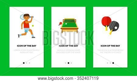 Tennis Flat Icon Set. Ball, Bat, Racquet Isolated Vector Sign Pack. Health And Sport Game Concept. V