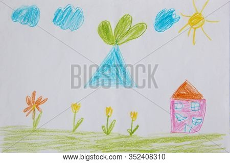 Childish Drawing Of House Clouds And Flower Bed. Joy Summer Children Drawing With Tulips House And L