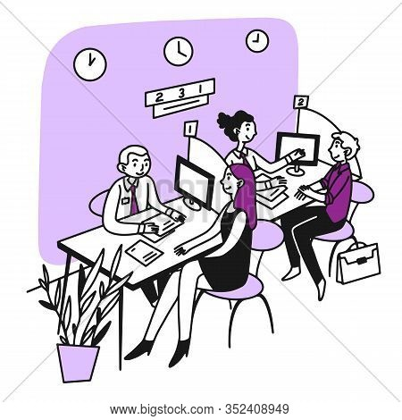 Bank Consultant Talking To Customer. Client Consulting Employees At Reception Chart Flat Vector Illu