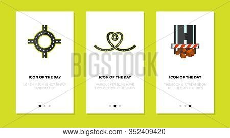 Roadway Flat Icon Set. Building, Asphalt, Car Isolated Vector Sign Pack. Road Works And Construction