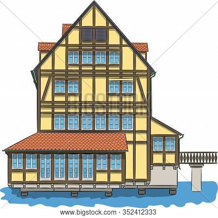 Yellow Medieval Half-timbered House Over A Canal In Bamberg. Vector Illustration