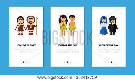 Ethnic Traditional Costumes Flat Icon Set. Eskimo, Hawaiian, Jewish Isolated Vector Sign Pack. Cloth