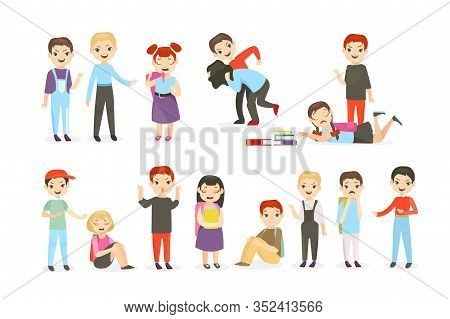 School Bullying Flat Vector Illustrations Set. Physical And Psychological Abuse, Classroom Conflicts