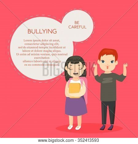 Bullying Vector Banner Template With Text Space. Psychological Abuse, School Conflict Flat Illustrat