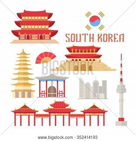 South Korea Showplace Flat Vector Illustration. Korean Buildings And Traditional Attributes, Eastern