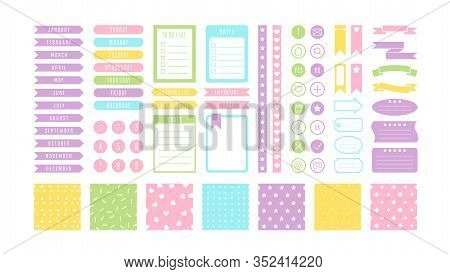Pastel Stickers Flat Vector Illustrations Set. Calendar And Notebook Items. Bookmarks And Reminders,