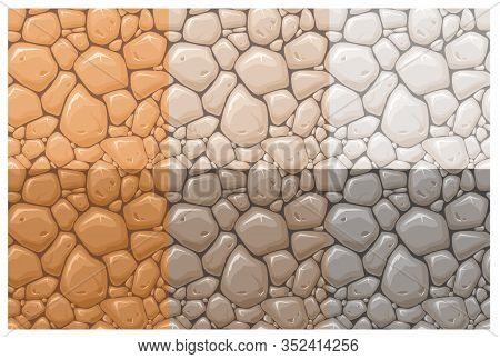 Stone Surface Vector Seamless Patterns Set. Multicolor Rocks, Cobblestone Textures Collection. Orang