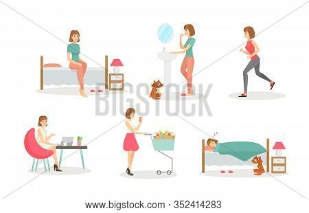 Woman Day Routine Flat Vector Illustrations Set. Morning Procedures, Daily Activity And Evening. Hyg