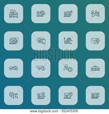 Seo Icons Line Style Set With Social Media Campaign, Sort Keywords, Download Information And Other N