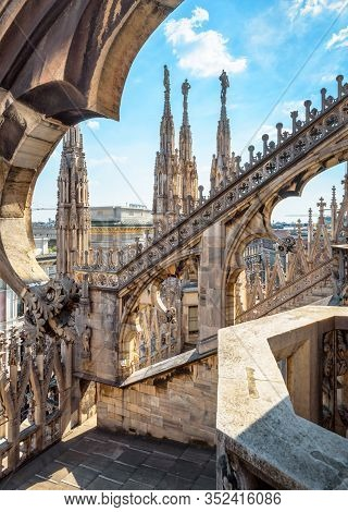 Milan, Italy - May 16, 2017: Milan Cathedral Roof Close-up, Europe. Detail Of Luxury Rooftop Exterio