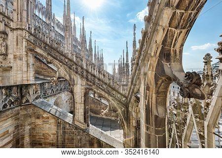Milan, Italy - May 16, 2017: Milan Cathedral Roof, Europe. Milan Cathedral Or Duomo Di Milano Is Top
