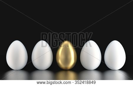 Five Eggs Ordered In A Line - Four Eggs White, One Egg Gold. 3d Rendering