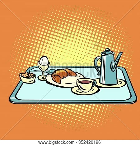 Continental Breakfast On A Tray. Comic Cartoon Pore Art Retro Vector Kitsch Vintage