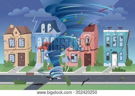 Strong Powerful Tornado Hurricane Destroying Small Town Buildings. Natural Disaster Swirling Whirlwi