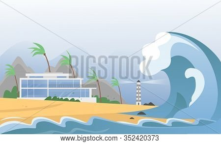 Natural Strong Disaster With Fog And Tsunami Waves From Ocean With House, Mountains, Palms And Light