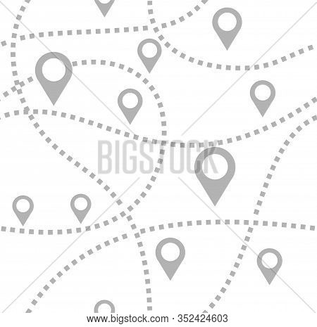 Map, Routes, Beacons, Seamless Pattern, Monochrome, White, Vector. Gray Beacons On A White Field. Th