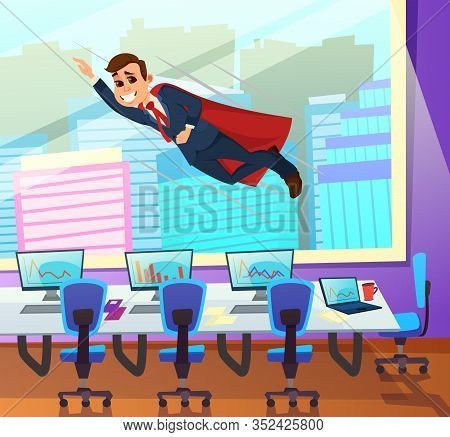 Almighty Boss With Supernatural Powers, Wearing Red Cloak Over Business Suit, Flying Over Office Wit