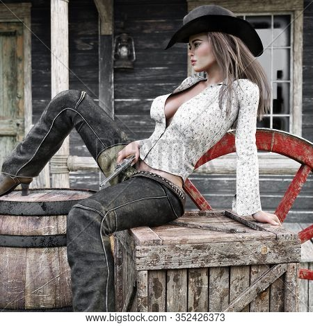 Sexy Classy Female Cowgirl Gunslinger Relaxing In Town With Her Revolver Pistol At The Ready. 3d Ren