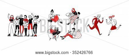 Communication Types Set. Reading Book Or Newspaper, Friends, Business Competitors. Flat Vector Illus