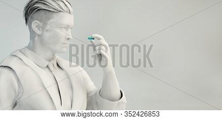 Man Inspecting Pill as a Precaution Concept Art 3D Render