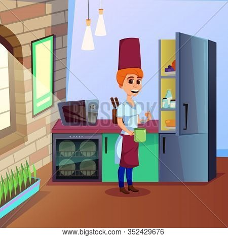 Woman Chef, Making Up, Trying To Create New Dainty Dish. Charming Experienced Cook, Wearing Uniform,