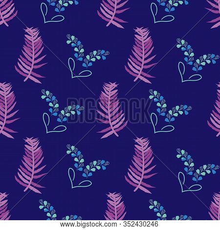 Lavender Dreams-flowers In Bloom Seamless Repeat Pattern. Fresh Abstract Lavender Leaves And Hearts