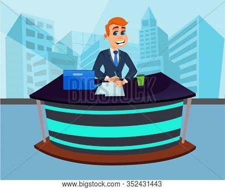 Cartoon Man Breaking News Presenter In Studio. Media Newsroom Flat Interior. Male Character In Suit