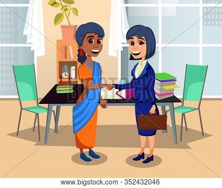 Multiethnic Women Handshaking. Cartoon Partners Female Characters. Flat Office Interior. Indian And