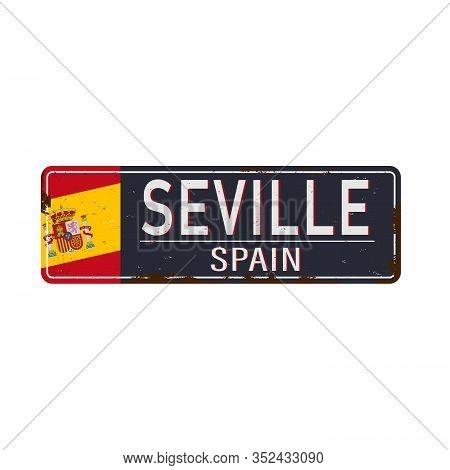 Seville , Spain , Road Sign Vector Illustration, Road Table
