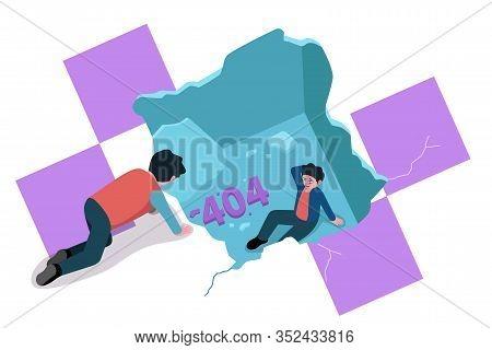 A Vector Illustration Of Broken Floor Or Ceiling Showing 404 Website Error Concept Illustration