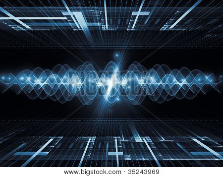 Background design of perspective fractal grids lights mathematical wave and sine patterns on the subject of modern technologies science of energy signal processing music and entertainment poster
