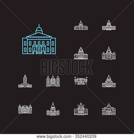 America Icons Set. Alabama State Capitol And America Icons With Landmark, New York State Capitol, Ne