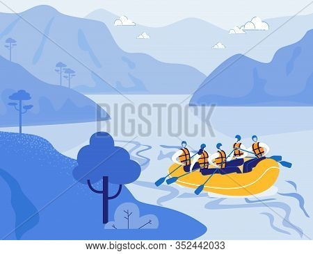 Tourists Rafting On Mountain River In Inflatable Yellow Boat. Rafting In Highlands. Extreme Sport, T